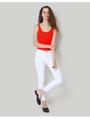 White Mid Rise Ankle Length Skinny Jeans
