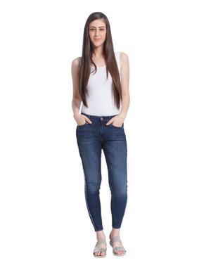 Blue Frayed Sides Regular Waist Skinny Jeans