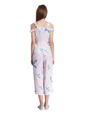 Pink Floral Print Cold Shoulder Jumpsuit