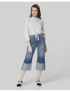 Blue High Waisted Denim Culottes