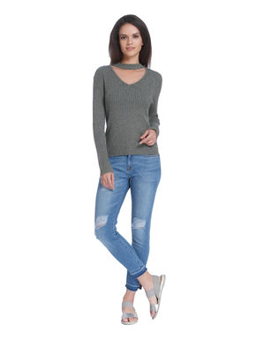 Grey Shimmery Choker Neck Pullover