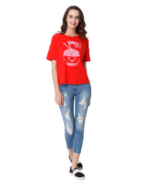 Red Noodles Print T-Shirt