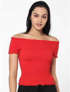 Red Smock Bardot Top
