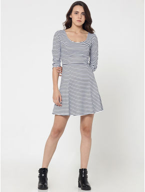 Black and White Striped Skater Dress