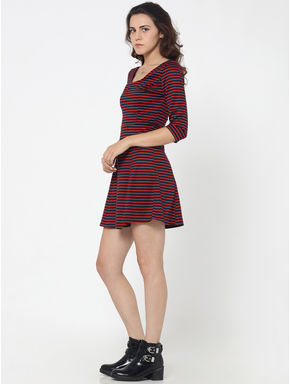 Dark Blue and Red Striped Skater Dress