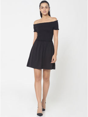 Black Smock Off Shoulder Fit & Flare Dress