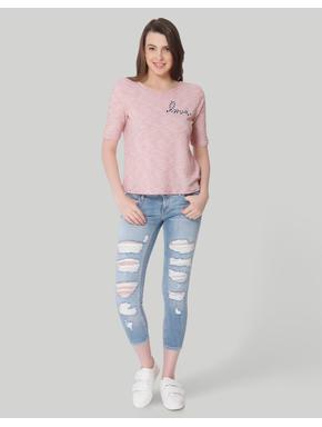 Pink Rope Detail Box T-Shirt