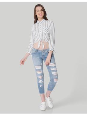 White Striped Self Tie Crop Shirt