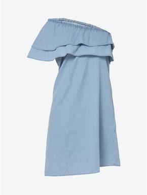Blue One Shoulder Denim Dress