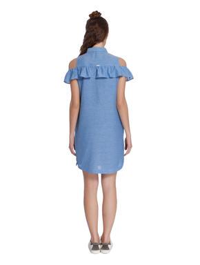 Blue Cold Shoulder Denim Shirt Dress
