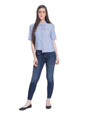 Blue Text Print Striped Shirt