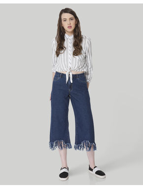 Dark Blue Frayed Hem Culottes