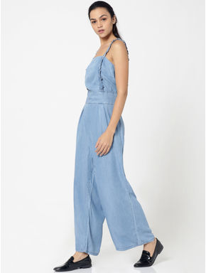 Dark Blue Frill Detail Jumpsuit