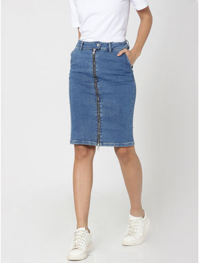 Blue Zip Up High Waist Denim Pencil Skirt