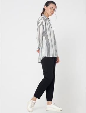 Black & White Striped Oversized Shirt