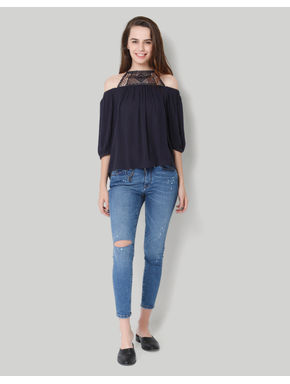 Dark Blue Off Lace Shoulder 3/4Th Sleeve Top