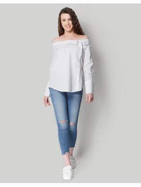 White Striped Off Shoulder Shirt