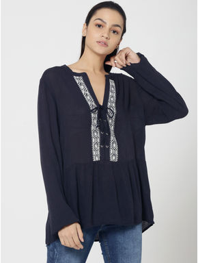 Dark Blue Lace Up Embroidered Top