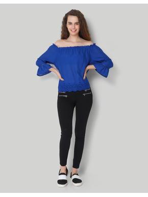 Blue Off Shoulder 3/4Th Sleeve Top