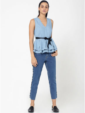 Blue Tiered Denim Top