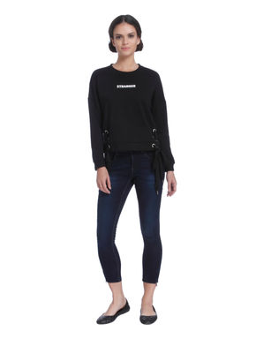 Black Slogan Print Eyelet Detail Sweatshirt