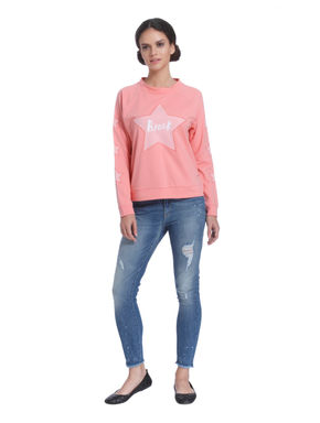 Rose Pink Star Print Sweatshirt