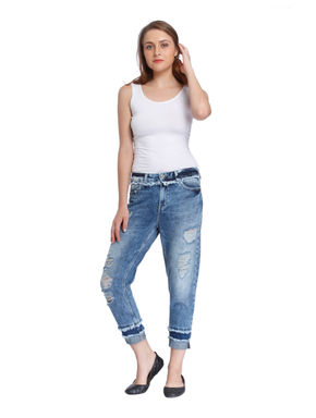 Blue Heavy Distressed Mid Rise Boyfriend Jeans