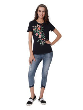 Dark Blue Floral Embroidered T-Shirt
