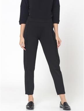Black Frill Detail Mid Rise Slim Fit Pants