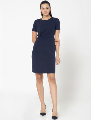 Dark Blue Twist Detail Shift Dress