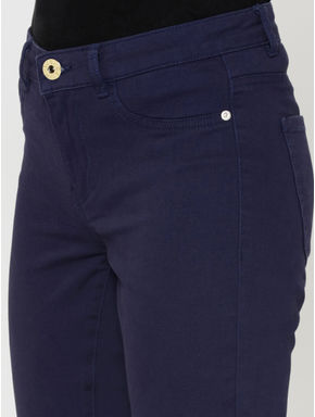 Dark Blue Mid Rise Skinny Fit Ankle Length Pants