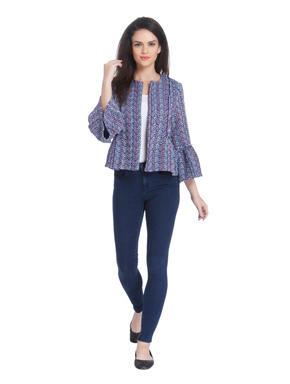 Light Blue Printed Short Blazer
