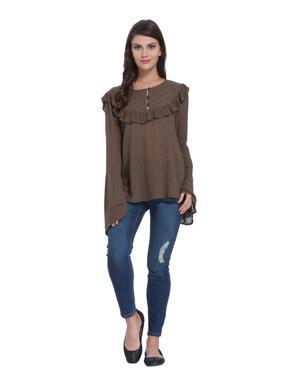 Brown Flared Sleeves Shirt