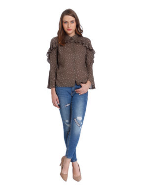 Brown Star Print Ruffle Shirt