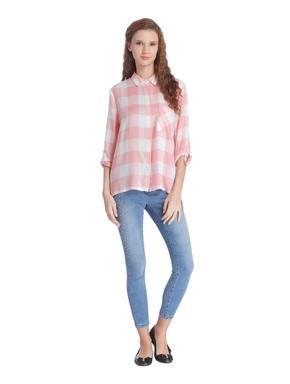 Pink Check Slogan Print Shirt
