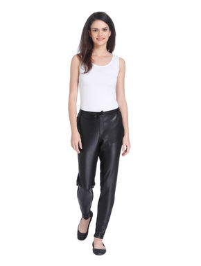Black Ankle Button Detail Pants