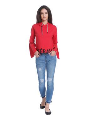Red Flared Sleeves Hooded Sweatshirt