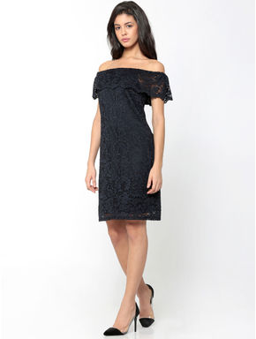 Dark Blue Lace Off Shoulder Shift Dress