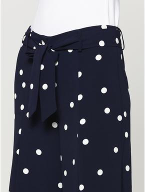 Blue Polka Dot Tie Waist Culottes