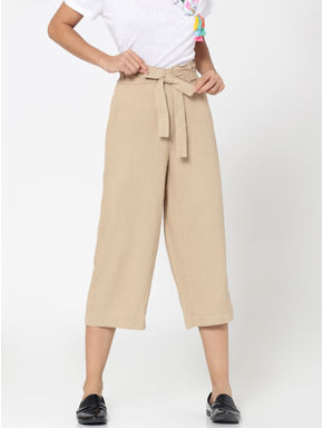 Beige Paperbag Waist Cropped Linen Pants