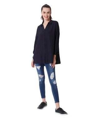 Dark Blue Knot Sleeves Oversized Shirt