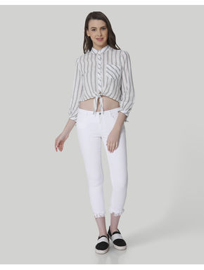 White Mid Rise Skinny Fit Frayed Hem Jeans