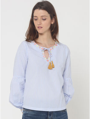 Blue Striped Embroidered Top