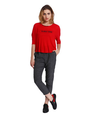 Red Text Print Top
