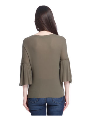 Olive Green Flared Sleeves Tops
