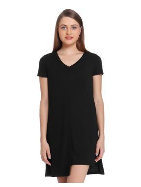 Black Asymmetrical Mini Dress