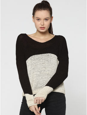 Black Colourblocked Knit Pullover