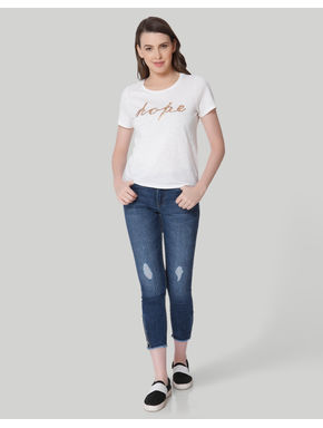 White Sequinned Text T-Shirt