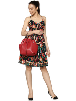 Black Floral Embroidered Strappy Fit & Flare Dress