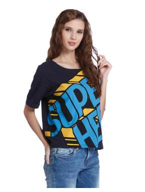 Blue Super Hero Print T-Shirt